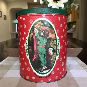 Vintage Christmas Cookie Tin Home Decor Accent